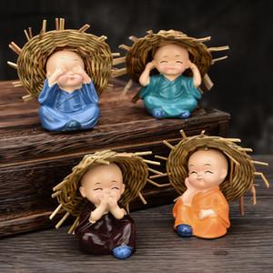 Chapeau de paille Le Petit Moine pour la maison Décor thé Animaux Mascot Figurines Miniatures Accueil Ornement Décoration de voiture