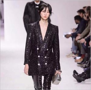 Yeni Etiket Ile Marka B En Kaliteli Orijinal Tasarım kadın Kruvaze Metal Toka Ceket Blazer Ince Lurex Sequins Uzun Ceket