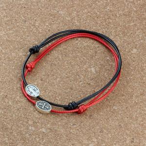 120pcs Античного серебра Бенедикт Medal Распятие овальная форма Бусина регулируемого шнур запястье DIY воск веревка переплетения браслетов 2color C-50