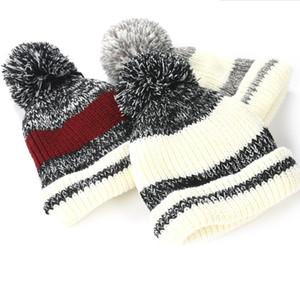Kış Yün Beanie Unisex Örme Şapka Sıcak Çizgili Ponpon Topu Ile Caps Açık Yün Şapka Gorro Kaput Kap GGA2539