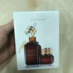 Trendy 2pcs set Fashion Brand Brown Bottles deep Night Repair face cream 50ml+15ml eye cream set face and eye skin care free shipping.