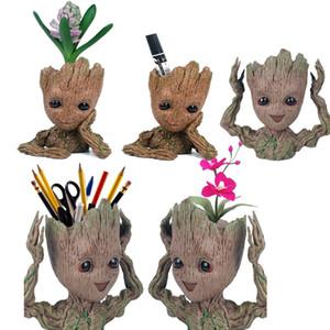 Hombre del árbol de lápiz titular de la pluma de la maceta Guardianes de la Galaxia Maceta Acción de bebé lindo figuras Escritorio Modelo Oficina Organizador Caja de almacenamiento