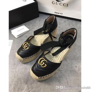 Moda para mujer zapatos pescador Baotou zapatos de las mujeres ligeras sandalias de guita lazo Armadura de cordones de zapatos pescador con cuadro