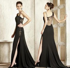 robe de mariée robes de soirée sexy en dentelle noire appliques haute scission élégante gaine en mousseline de soie robe de bal pure dos Robe de nuit