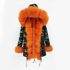 Kış asker yeşili ceket kadınlar kalın parkas dış giyim Doğal gerçek kürk yaka turuncu kürk kapüşonlu Pelliccia