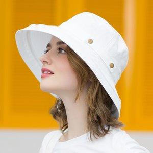 icebear Verão Cotton Sun Chapéus para mulheres Ampla Brim e respirável Bucket Chapéus moda jovem Caps