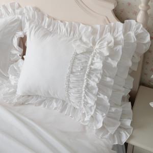 camadas de bolo de luxo ruffle fronha Europa rugas artesanal elegante fronha fronha branca bownot projeto doce Y200104 princesa