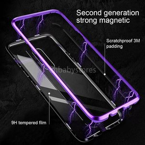 E Adsorption Flip Phone Magnetic Case For Samsung Galaxy S8 S9 Plus Note 8 9 Cases Magnet Metal Tempered Glass Back Cover