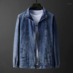 Jaqueta jeans cor sólida Manga comprida lapela Lavados Casual Magro Jacket Designer Masculino Brasão Primavera Mens