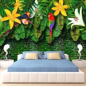 Dropship encargo de la foto del papel pintado 3D Hand Painted Europea Estilo Pastoral Selva Tropical sudeste asiático hojas de plátano Papel Mural