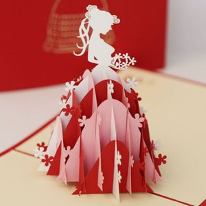 New 3D Bridal Princess Dress Wedding Invitation Greeting Cards Party Gift Paper Post Home Decoration Free Shipping