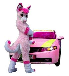 2019 Heißer Verkauf ohlees eigentliches Bild Foto pink Fursuit Husky Wolf-Halloween-Maskottchen-Kostüme Charakter Kopf Phantasie Partei Kostüm erwachsene Größe
