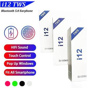 i12 Tüm Akıllı Telefonlar için kutuyu Şarj ile Earbud Bluetooth V5.0 Kablosuz Kulaklık Wireless kulaklık Dokunmatik kontrol Earbuds tws