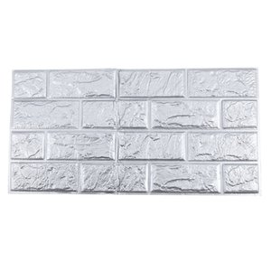 60*30cm 3D PE Foam Brick Stone DIY Wall Art Sticker Soft Panel Room Decor, Silver gray