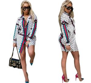 HOT Long Sleeve Shirt Dress Summer Chiffon Boho Beach Dresses Women Casual Striped Print A-line Mini Party Dress Vestidos