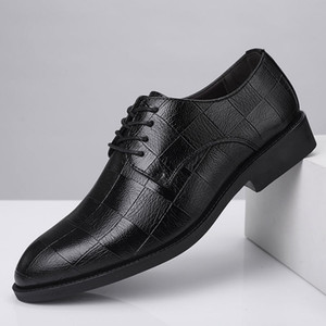 Checkered formal shoes mens dress shoes leather wedding office suit oxford for men sapato masculino zapatos hombre fie 685
