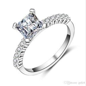 Hotstone88 Princess 6mm cuadrado Cubic Zircon anillo femenino clásico diente ajuste anillos de boda mujeres moda joyería