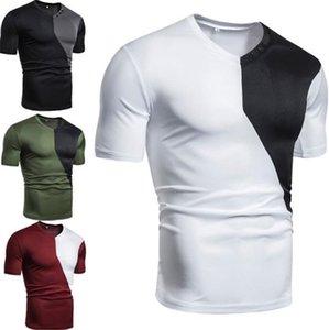 V 목 디자이너 망 Tshirts 덧대어깁기 색깔 느슨한 짧은 소매 망 티 우연한 통풍 남성 정상