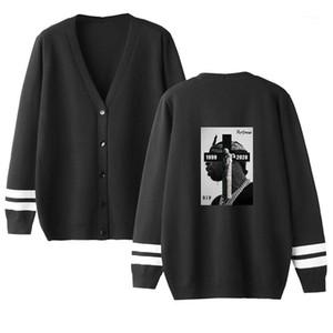 Designer Pullover Cardigan Hip Hop-Buchstabe gedrucktes loser Knopf Langärmlig mit V-Ausschnitt Pullover Mode-Männer Pullover Pop Rapper Mens