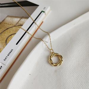Collar geométrico del círculo de las mujeres Collares collar colgante de plata de ley 925 Garland nuevo de la manera del oro blanco del hueco del color de la torcedura