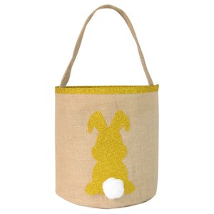 Easter Rabbit Print Bucket Canvas Sequins Bunny Easter Basket Easter Hunt Egg Candy Storage Bucket Party Supply CCA3398