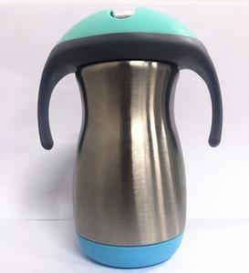 NOUVEAU 9 oz en acier inoxydable enfants Sippy tasse avec poignée en paille bébé apprentissage boisson tasse enfants paille gobelet isolé todder bouteille d'eau