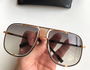 Men Designer Square Titanium Sonnenbrille 2087 Gold Schwarz Grau Verlaufsglas Brand New with Box
