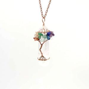 Novo Homens Big Gemstone Pendant Mulheres Natural Crystal White Quartz Árvore de encantos Life Seven Chakras Pedra Colar Pingente