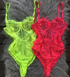OMSJ New Neon Couleurs Mode Cils dentelle Slim Fit Body Summer Sexy Backless Sheer moulante Jumpsuit Mesh évider Tops