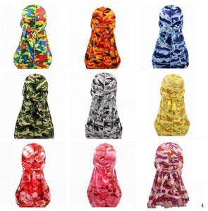 Miltary Camouflage Silky Durag Hot novo prémio colorida 360 Ondas Cauda Longa Silky Durags Hiphop Caps para homens e mulheres de alta qualidade Durag