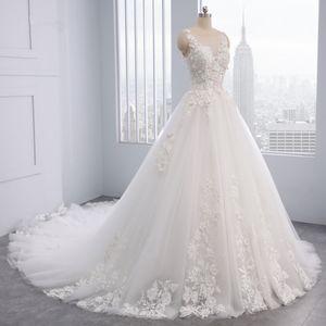 2019 Elegant Flowers Lace Princess Wedding Dress 2018 Appliques Beaded Vintage Bride dresses Vestido De Noiva Plus Size