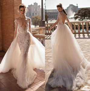 Sexy Lace Applique Mermaid Beach Wedding Dresses with Long Sleeve 2019 V-neck Fairy Tale Bohemian Bridal Wedding Gown with Overskirt