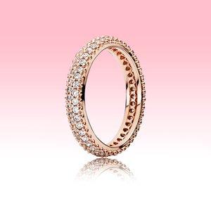 Элегантное кольцо Pave Band Full CZ Diamond Womans Обручальные кольца Летние Ювелирные Изделия для Pandora Real 925 Серебряное обручальное кольцо с оригинальной коробкой