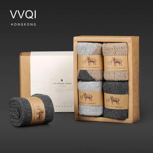 VVQIWinter laine mérinos drôle Chaussettes femmes Keep Warm Femme Chaussettes Épaississement Épais Fil 4pairs / lot mens socksdress