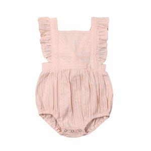 Newborn Baby Girls Striped Bodysuit Ruffles Short Sleeve Pink Jumpsuit Outfit Clothes Sunsuit 0-24M