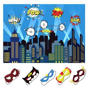 OurWarm Birthday Party Décoration Enfants Garçon 5x7ft Ville Photographie et Backdrop Masques Superhero Superhero Parti Backdrop CJ191225