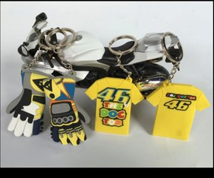 오토바이 VR46 로시 장갑 일 달 꽃 오토바이 기관차 열쇠 고리 반팔 T 셔츠 키 체인