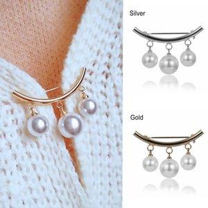2020 Корейский Серебро Цвет жемчужный шарик броши для женщин Кардиган шарф Носить девушки Эмаль Pin Fixed ремни