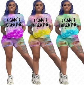 I Cant Frauen Anzüge atmen Ich kann nicht atmen Tie-Dye Letters Tracksuits Sommer-T-Shirt mit Ripple Holes Shorts Zweiteilige Sets Outfits Auf D61707