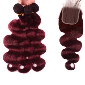 Paquetes brasileños para el cabello con cierre de encaje 99J Borgoña El cabello humano teje extensiones de cabello humano de onda recta de cuerpo