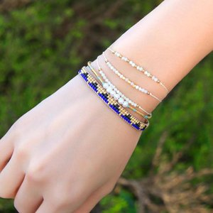KELITCH Tiny Natrual Stone Bracelets Cute Beaded String Charm Dainty Handmade Bracelet for Women Jewelry 2020 Newest Bangle 3PCS