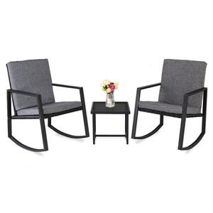 WACO Outdoor Rocking Chairs Set with Glass Coffee Table, Iron frame PE Rattan Wicker Lounge Garden Balcony Patio Pools Furniture Black
