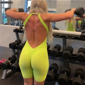 Siamese sportivo Fitness Breve schiena aperta Palestra One Piece Suit Yoga Workout Set Sport Body Backless sexy siamesi NCLAGEN