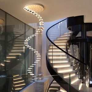 Avize Modern minimalist dubleks kat salon moda atmosfer İskandinav oturma odası lamba villa spiral merdiven uzun asılı