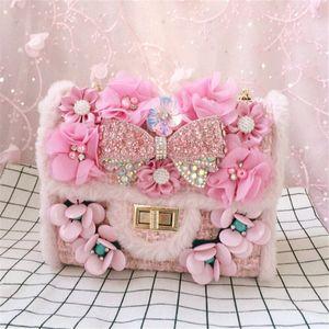 Free shipping Cute Pink bags Rhinestone Flower Shoulder Bag Women Fashion Woolen Clutch Bags Wholesale and retail 2018 Runway