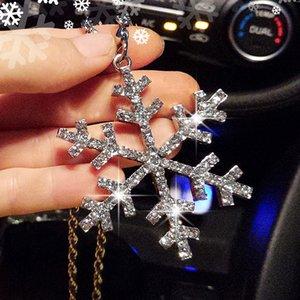 Diamond coche incrustaciones de nieve intermitente romántica Colgante colgante espejo retrovisor de vehículo automático de decoración de interiores