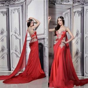 2020 Red Vintage Русалка Вечерние платья Индийский стиль аппликация шифон невесты партии Outfit стреловидности Long Prom Gowns