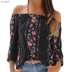 Top Fashion Summer Blouse Women Long Sleeve Floral Print Off Shoulder Slash-Neck Shirt Blouse Koszula Damska