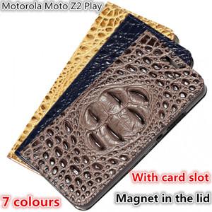 QX12 Cocodrilo Volver Patrón Gneuine Funda de cuero para teléfono Motorola Moto Z2 Play Estuche magnético para el teléfono Soporte para Motorola Moto Z2 Play