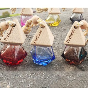 Ambientador para el coche que cuelga la botella de cristal de perfume auto difusor de aceites esenciales botella de la fragancia del ornamento interior Accesorios R1328-1